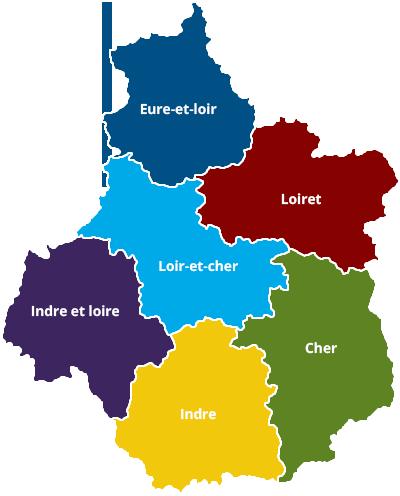 Région centre départements